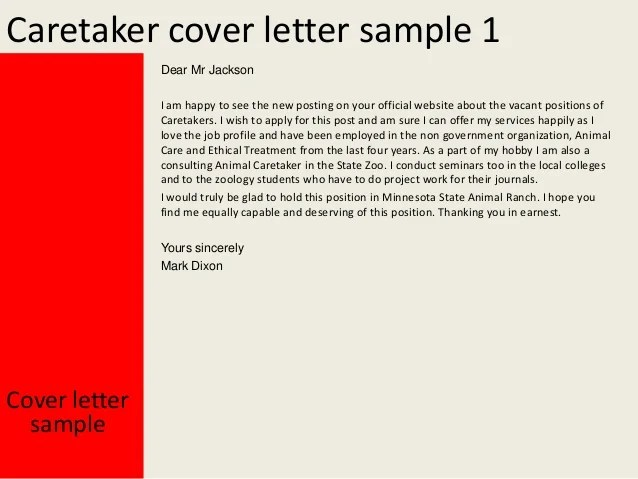 Caretaker Cover Letter