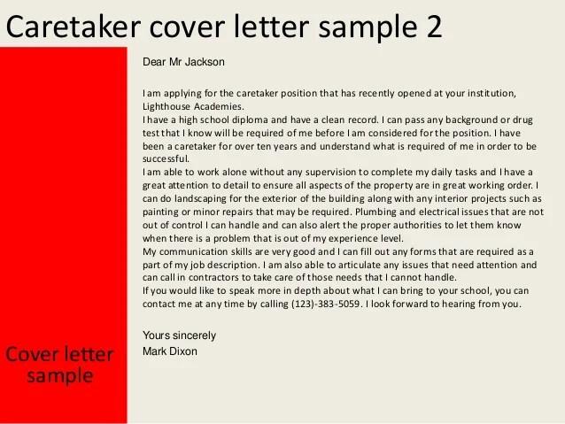 Caretaker cover letter