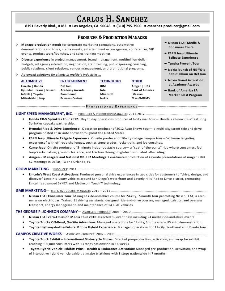 producer resume profile sample