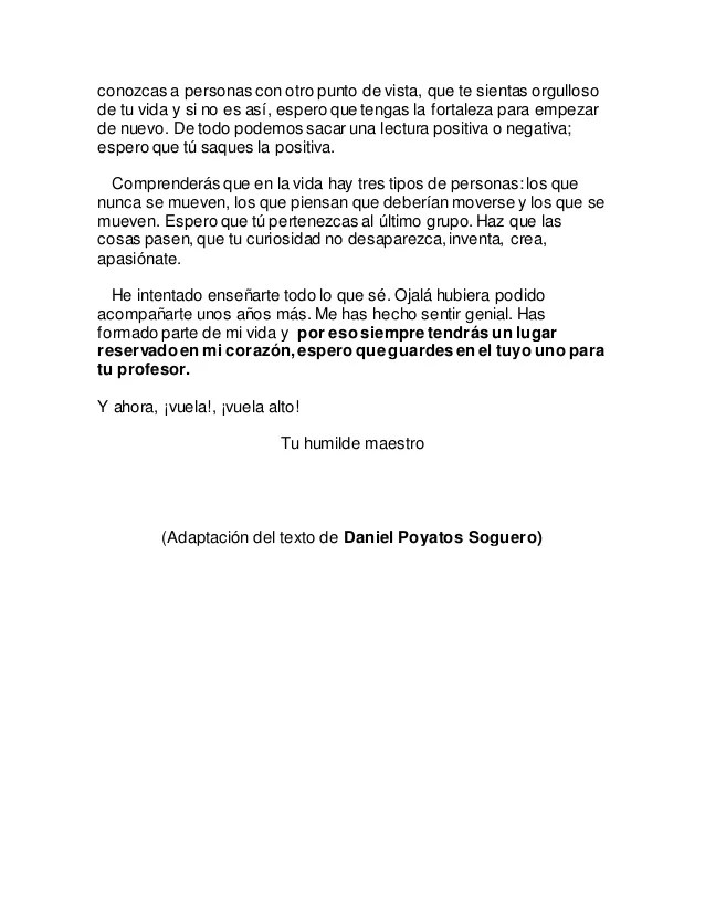 Carta de despedida a mis alumnos