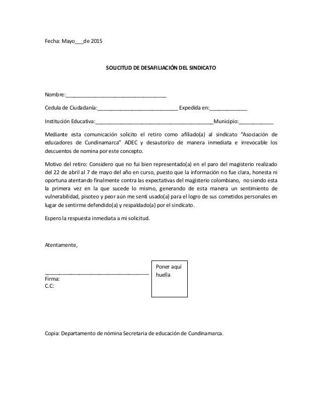 Formato Carta De Renuncia A Sindicato Curriculum Europeo