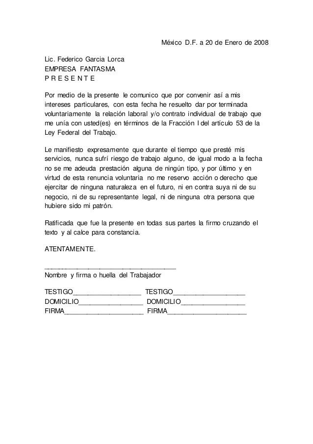 Ejemplo Carta De Renuncia Free General Cover Letter Template