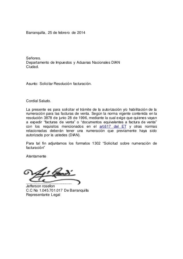 Carta resolucion facturacion