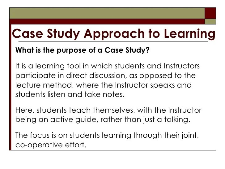 Case Study Approach To Learning