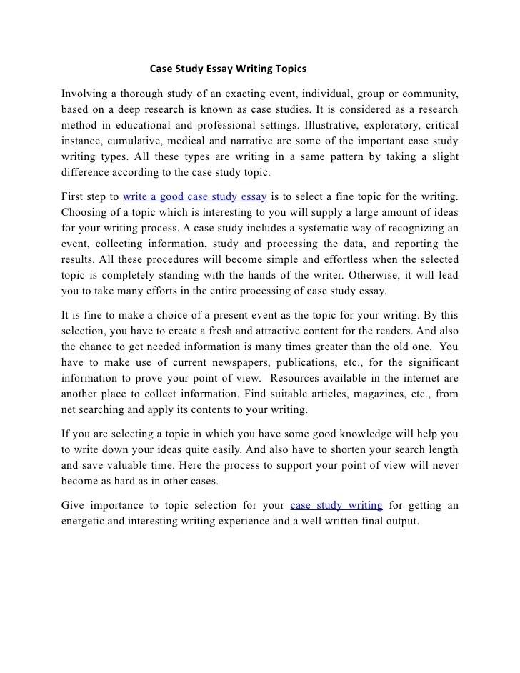 Case Study Essay Writing Topics