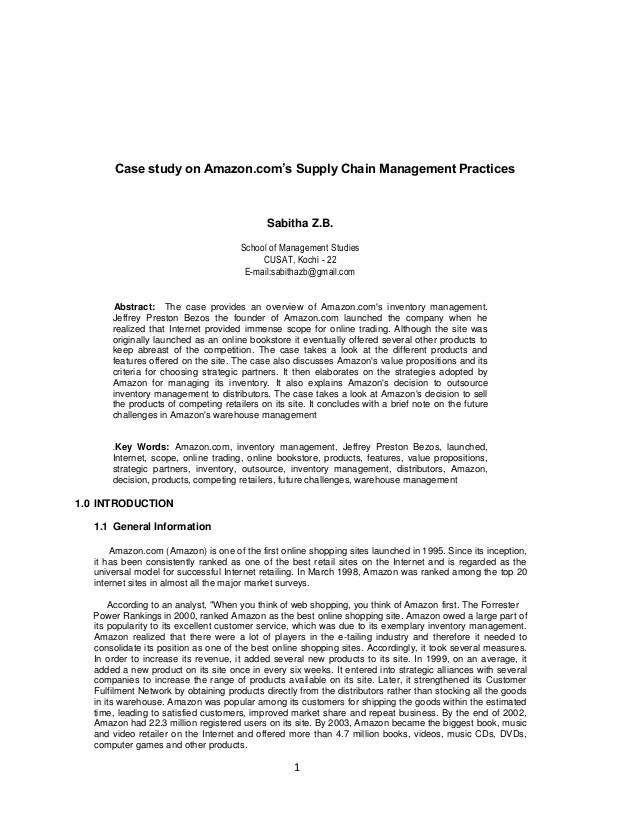 Case Study On Amazon Com's Supply Chain Management Practices MBAtio