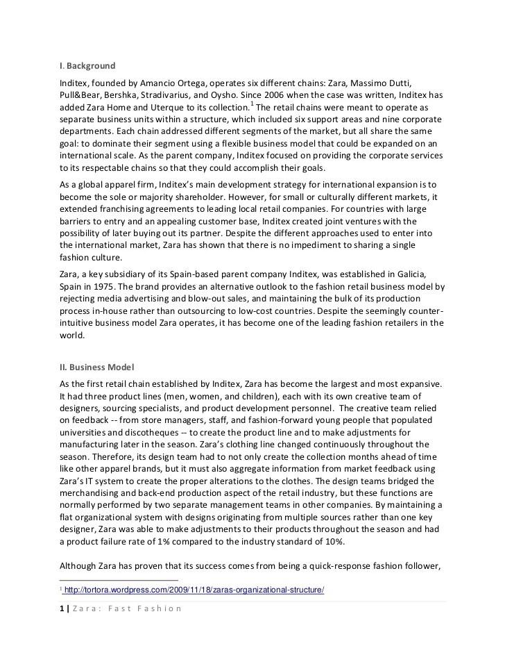 Zara fast fashion case analysis paper 61