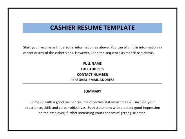 Skills For A Cashier Resume