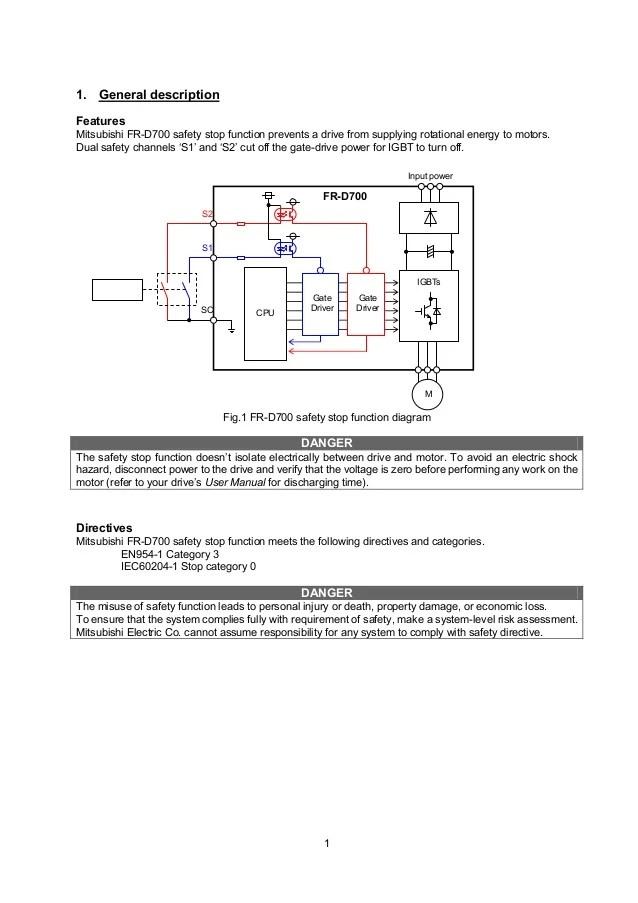 Catalog Inverter FRD700 safety stop function instruction