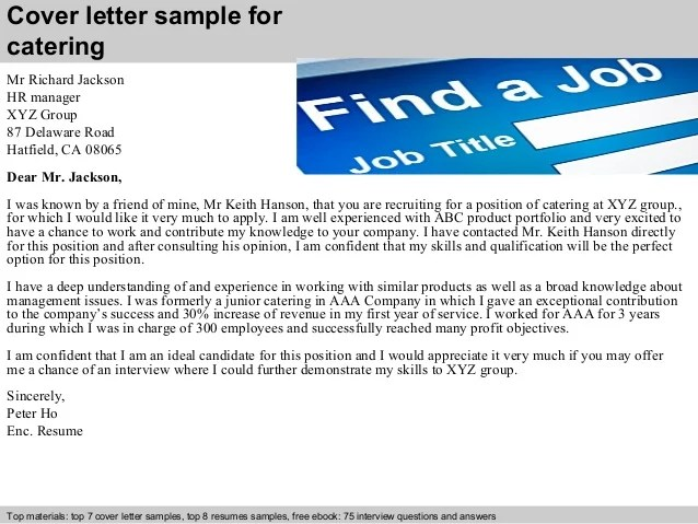 Catering cover letter