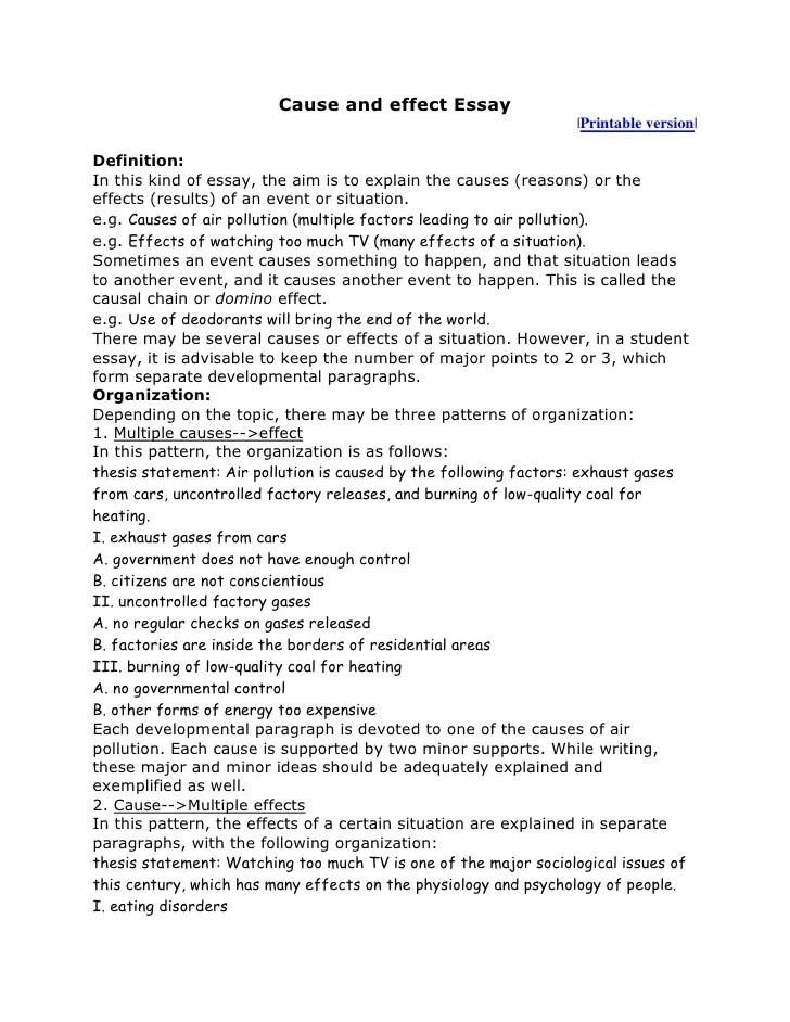 how to write cause and effect essay