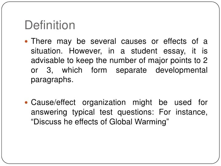 definition of cause and effect essay