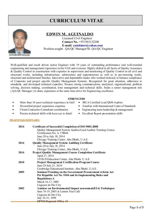 qa qc manager mechanical resume sample