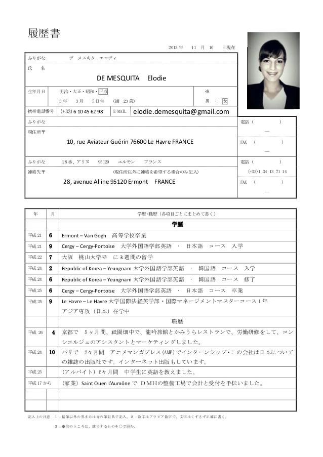 DE MESQUITA Elodie Japanese Resume