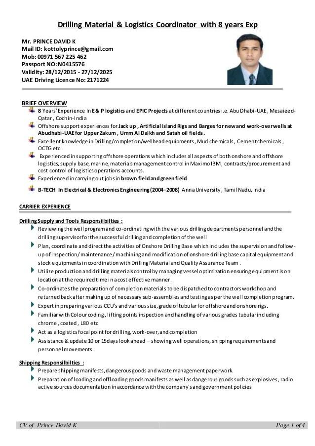 logistics executive sample resume