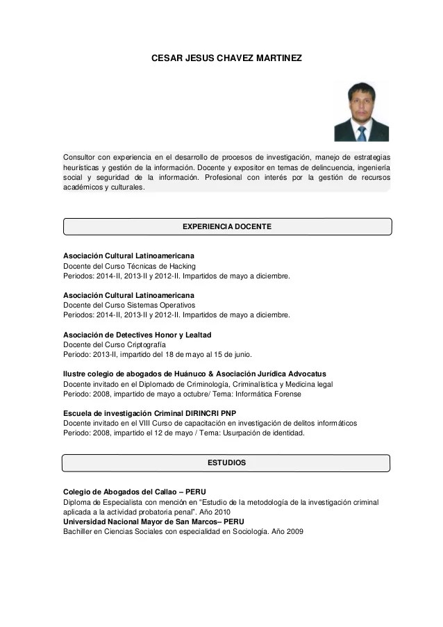 Ejemplos De Curriculum Vitae Bolivia | Cover Letter Examples ...