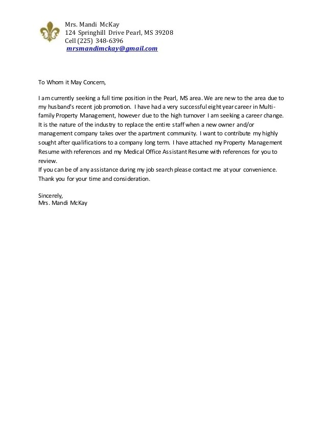 Mandi McKay Cover Letter And Resumes