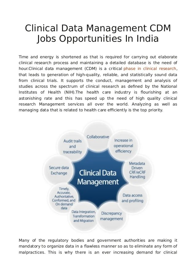Clinical Data Management CDM Jobs Opportunities In India