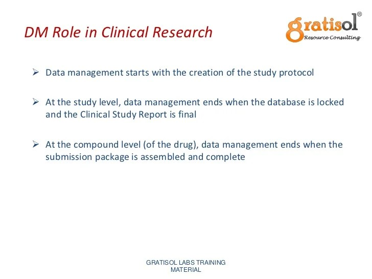 Clinical Data Management Training  Gratisol Labs