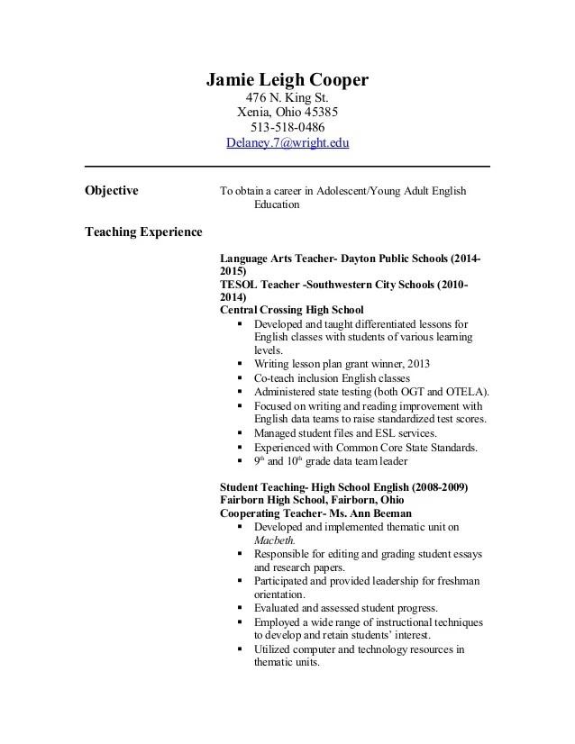 sample resume for teacher
