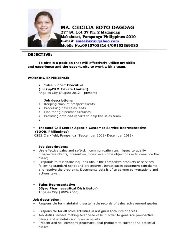 Sample Call Center Resume - Template