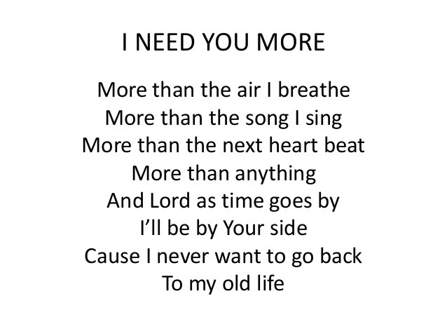 I You Lord Song Need