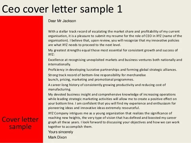 Ceo cover letter