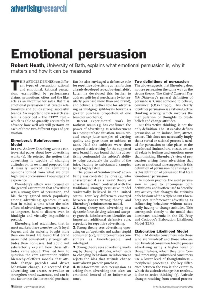 CEP Article On Emotional Persuasion In Advertising