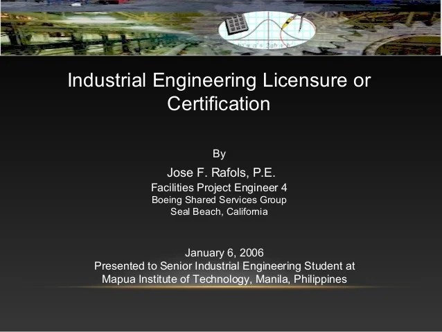 Industrial Engineering Licensure or Certification in the Philipippines