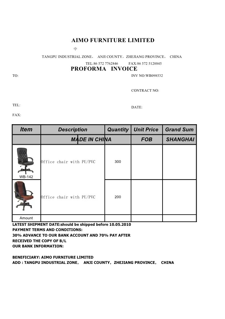 Proforma Invoice From Aimo Furniture Limited