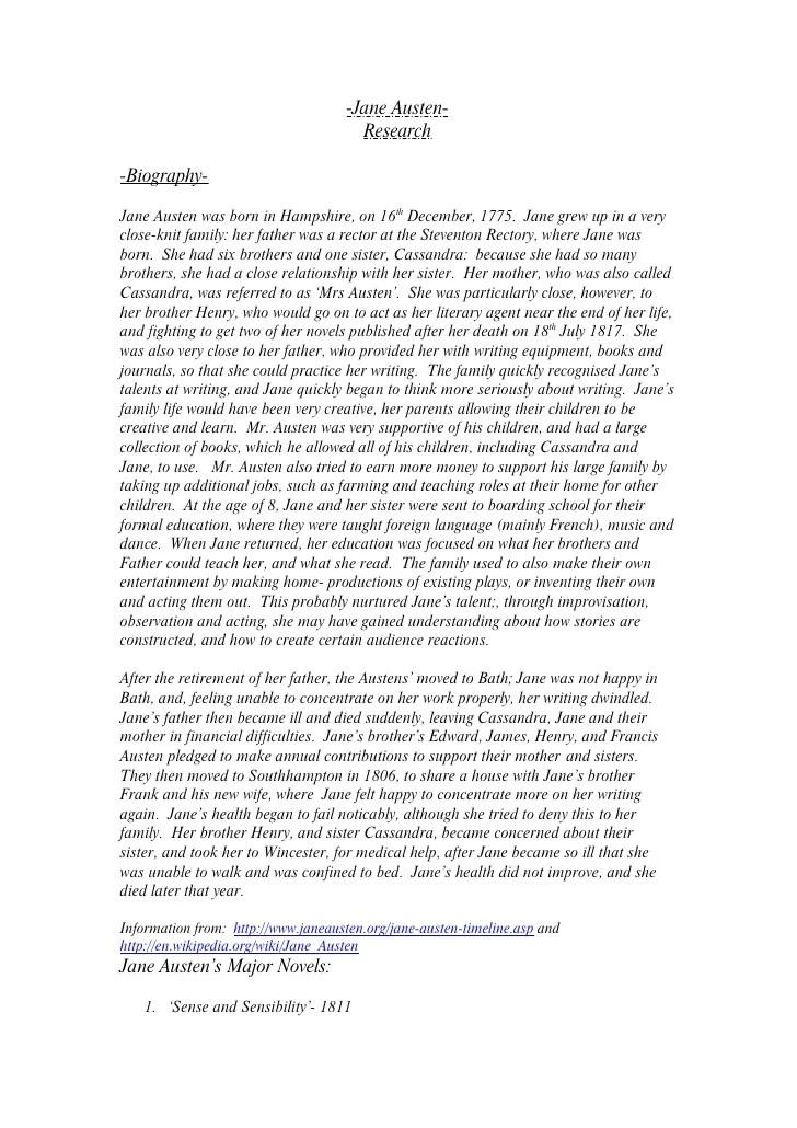 Research On Jane Austen