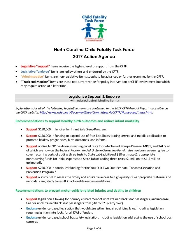 Child Fatality Task Force 2017 Action Agenda South Carolina Department Of Public Safety New
