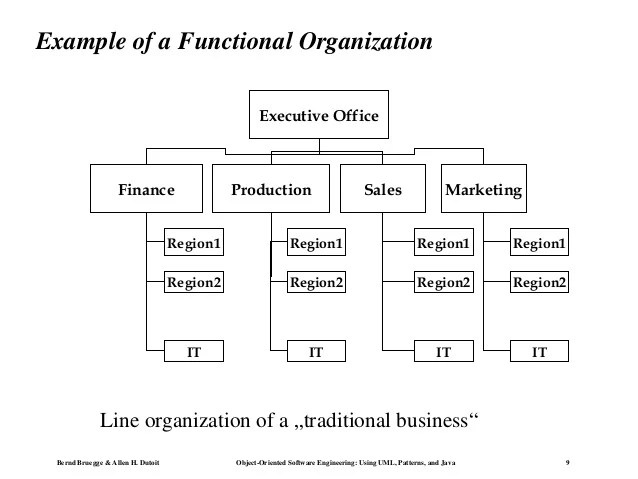 Example of  functional organization also charts les rh slideshare