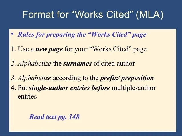 work citation mla format