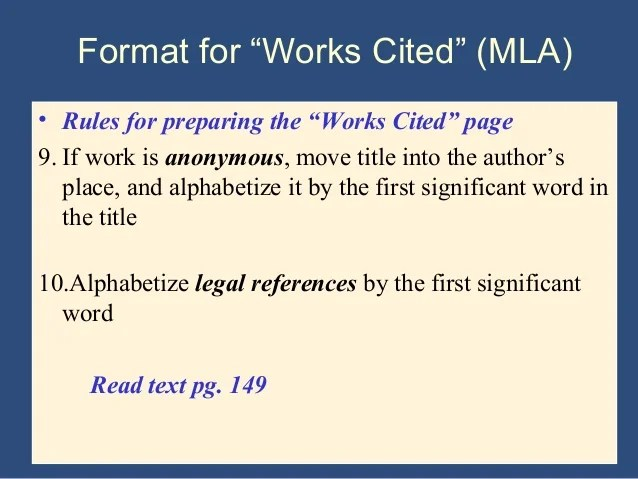 how to format a work cited page