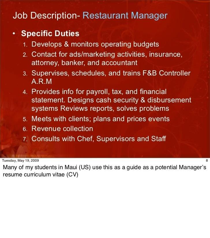 job description of a chef