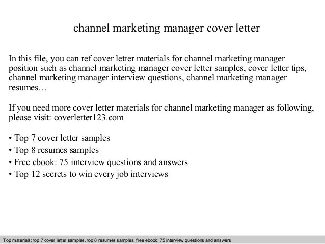 Cover Letter Channel Marketing Manager