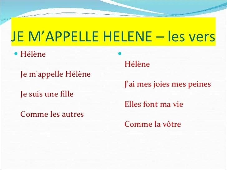 Je m'appelle Helene