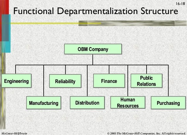 functional departmentalization structure obm company engineering reliability manufacturing also organizational and design rh slideshare