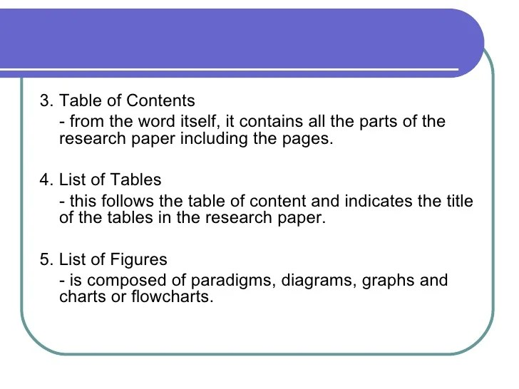 List Of Tables In Research Paper Examples Essay For You