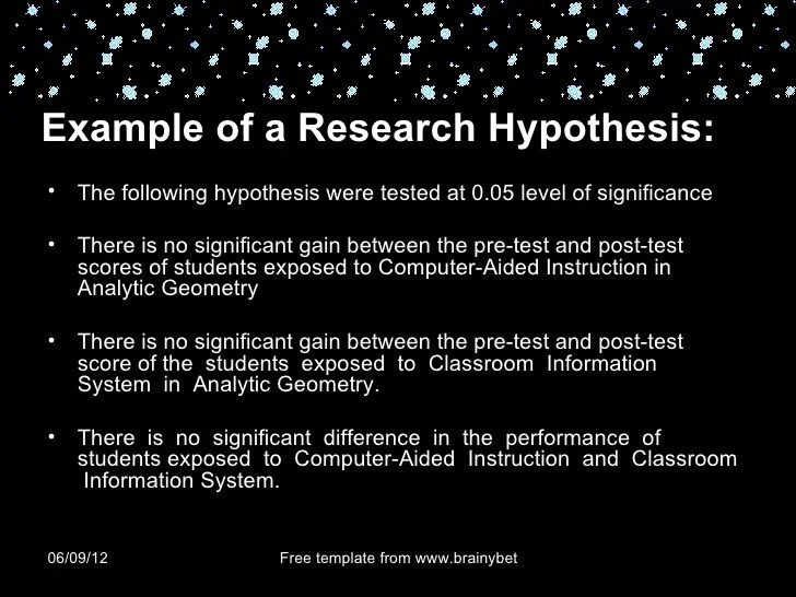 Chapter 4 RESEARCH HYPOTHESIS AND DEFINING VARIABLES