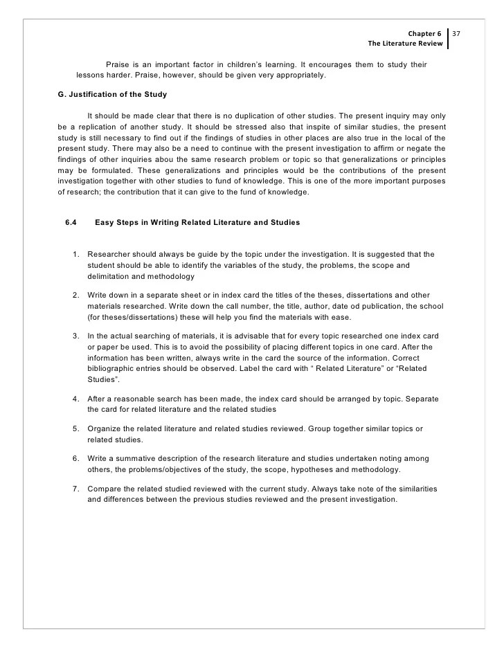 Chapter 6 The Review Of Related Literature And Studies