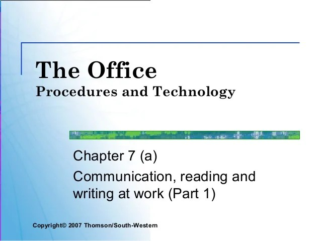 communication reading and writing at work part 1 copyright copy 200