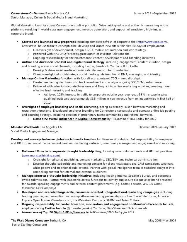Resume: Content Marketing | Social Media | Employer Branding