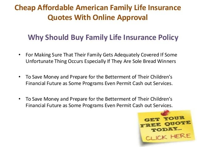 Affordable Life Insurance Quotes Online Fascinating American Family Life Insurance Quotes Picture