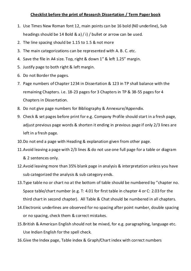 Checklist Research Term Paper