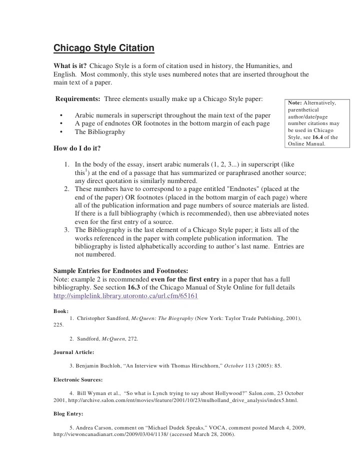 Bibliography Example Chicago Style Job Application Letter