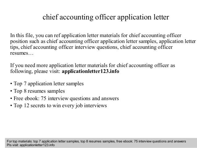 Chief Accounting Officer Application Letter