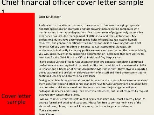 Chief Financial Officer Cover Letter