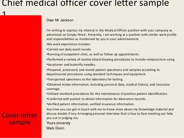 Chief Medical Officer Cover Letter
